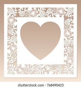 Openwork square frame with flowers and heart inside. Laser cutting template for greeting cards, envelopes, wedding invitations.