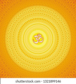 Openwork square mandala with Aum / Ohm / Om sign in the center. Circular ornament in orange and yellow tones. Vector graphics.