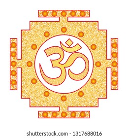 Openwork square  tibetan mandala with Aum / Ohm / Om sign in the center. Circular ornament in yellow and orange tones. Vector graphics.