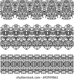 Openwork strips. Lace. Seamless. Complex patterns. Vector brush. Different patterns. Set. Vector graphics.