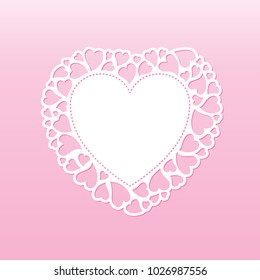 Openwork valentine card with small hearts. Laser cutting vector template suitable for greeting cards, envelopes, invitations, interior decorative elements.