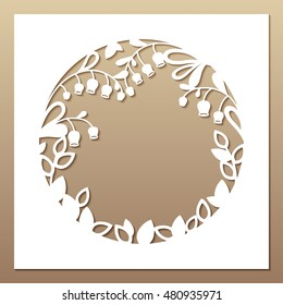 Openwork white frame with leaves and flowers. Laser cutting template for greeting cards, envelopes, wedding invitations, interior decorative elements.