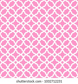 Openwork white lattice on a pink background. Seamless pattern for printing on clothing, dishes, cloth and other surfaces.