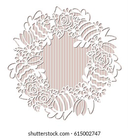 Openwork wreath with flowers and painted Easter eggs. Laser cutting vector template suitable for greeting cards, invitations, decoration of the interior.