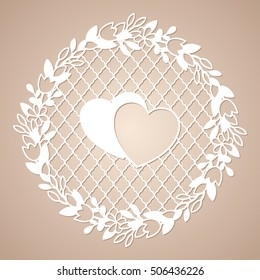 Openwork wreath of flowers with two hearts. Laser cutting template for decoration, cards, interior decorative elements.