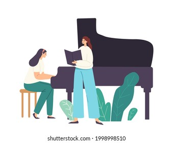 Opera, Chorus or Soloist Performance on Stage, Pianist Female Character Playing Musical Composition on Grand Piano for Woman Singer Singing Song with Book in Hands. Cartoon People Vector Illustration