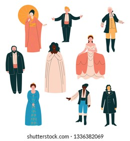 Opera Singers Set, Male and Female Singers in Elegant Clothing Performing on Stage Vector Illustration