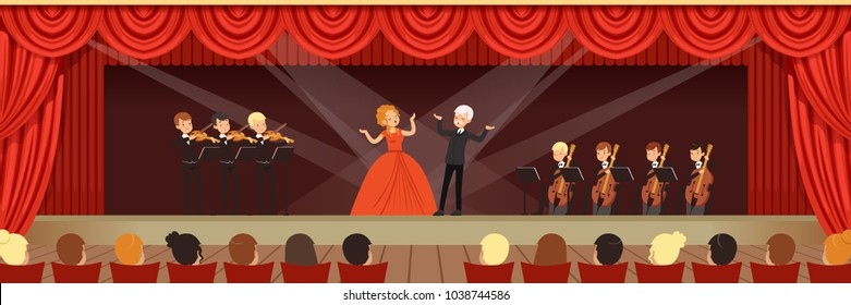 Opera singers singing on stage with symphonic orchestra before the audience horizontal vector Illustration