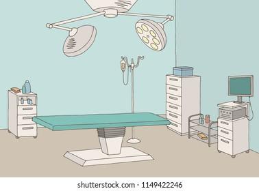 Operating room graphic color interior sketch illustration vector