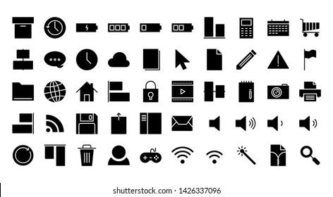 operating system glyph icon symbol set