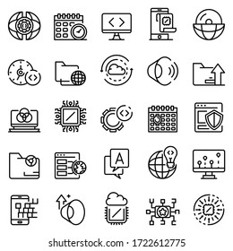 Operating system icons set. Outline set of operating system vector icons for web design isolated on white background