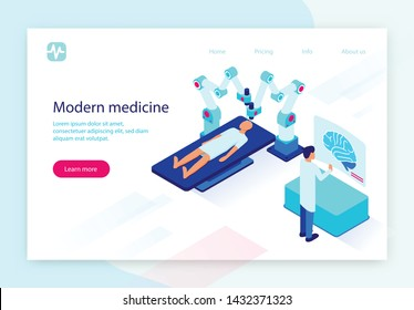 Operation on Brain with Medicine Robot and Patient. Surgical Intervention in Human Body Using Modern Futuristic Technologies, Doctor Control Process at Virtual Screen. 3D Isometric Vector Illustration