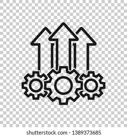 Operation project icon in transparent style. Gear process vector illustration on isolated background. Technology produce business concept.