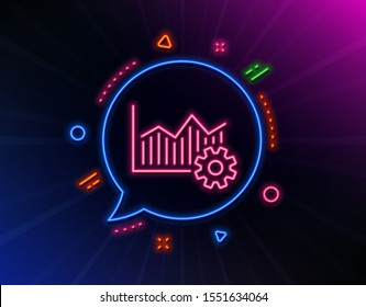 Operational excellence line icon. Neon laser lights. Cogwheel sign. Glow laser speech bubble. Neon lights chat bubble. Banner badge with operational excellence icon. Vector