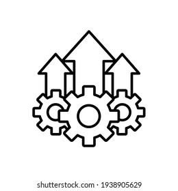 Operational excellence line icon. Simple outline style symbol. Optimize technology, innovation, production growth concept. Vector illustration isolated on white background. EPS 10.