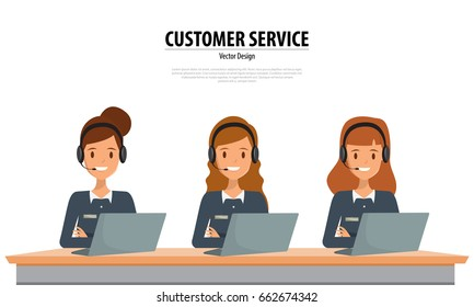 Operator of call center office working in headphones. Customer service character. Illustration vector.