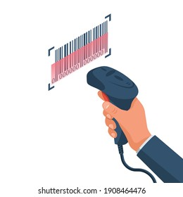 The operator holds a barcode scanner hand. Barcode isolated. Equipment for accounting of goods. Vector illustration isometric design. Isolated on white background.