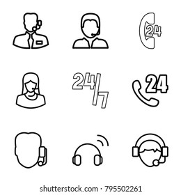 Operator icons. set of 9 editable outline operator icons such as 24 hours support, support, operator