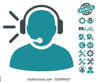 Operator Message icon with bonus configuration pictograms. Vector illustration style is flat iconic soft blue symbols on white background.