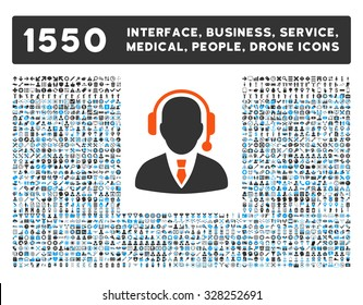 Operator and other web interface, business tools, people poses, medical service vector icons. Style is flat symbols, bicolored, rounded angles, white background.