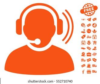 Operator Signal pictograph with free bonus pictograms. Vector illustration style is flat iconic symbols, orange color, white background.