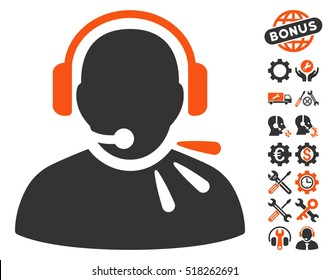 Operator Speech pictograph with bonus settings clip art. Vector illustration style is flat iconic orange and gray symbols on white background.