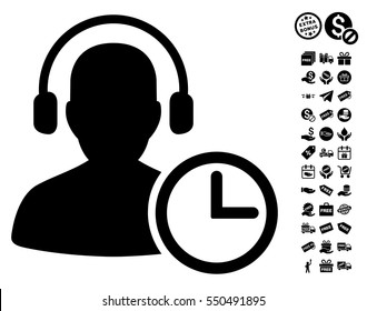 Operator Time icon with free bonus graphic icons. Vector illustration style is flat iconic symbols, black color, white background.