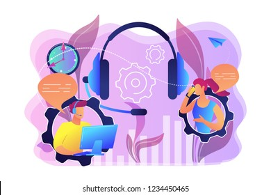 Operator wearing headset at computer cold calling to a potencial client. Cold calling, old school marketing, telemarketing sales concept. Bright vibrant violet vector isolated illustration