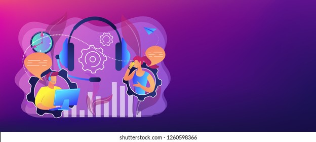 Operator wearing headset at computer cold calling to a potencial client. Cold calling, old school marketing, telemarketing sales concept. Header or footer banner template with copy space.