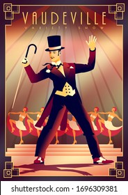 The operetta actor and the girls from the corps de ballet in the background perform on stage in a music show. Retro party invitation card. Handmade drawing vector illustration. Art Deco style.
