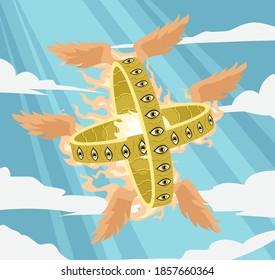 ophannin wheel of eyes Ezekiel's bible vision of angels