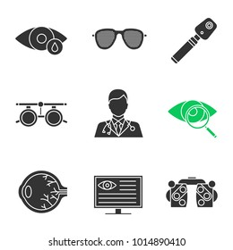 Ophtalmology glyph icons set. Eye drops, pinhole glasses, ophthalmoscope, phoropter, computer diagnostics, eyesight, vision test, doctor, exam glasses. Silhouette symbols. Vector isolated illustration