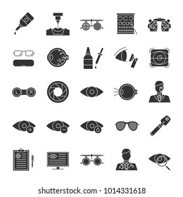 Ophtalmology glyph icons set. Optometry. Vision examination and treatment equipment. Silhouette symbols. Vector isolated illustration