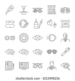 Ophtalmology linear icons set. Optometry. Vision examination and treatment equipment. Thin line contour symbols. Isolated vector outline illustrations. Editable stroke