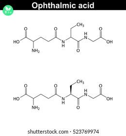Ophthalmic acid antioxidant chemical structure, scientific 2d vector illustration, isolated on white background, eps 8