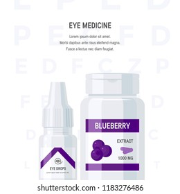 Ophthalmic medications concept. Eye drops and blueberry extract pills in flat style, vector illustration. Template for advertisement or web banner
