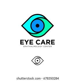 Ophthalmological clinic flat logo. Eye care emblems. Contour logo.