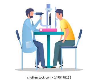 Ophthalmologist checking eyesight of his patient using eye test machine, vector flat illustration. Optometry, ophthalmology diagnostics, vision correction concept for web banner, website page etc.