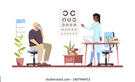 Ophthalmologist checking sight flat vector illustration. Professional doctor and patient isolated cartoon characters on white background. Oculist doing vision test. Medical check, exam. Eyes health