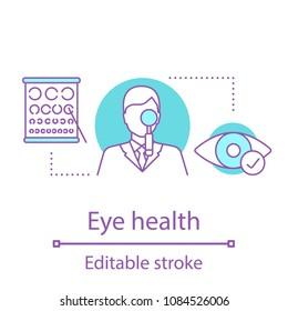 Ophthalmologist concept icon. Eye health. Ophthalmology idea thin line illustration. Vision check. Vector isolated outline drawing. Editable stroke