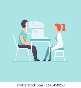 Ophthalmologist doctor examining patient eyesight with professional ophthalmological equipment, medical treatment and healthcare concept vector Illustration