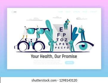 Ophthalmologist Doctor Test Eyesight Landing Page. Male Oculist with Pointer Perform Eye Examination. Medical Team hold Eyewear, Drop for Treatment Website Flat Cartoon Vector Illustration