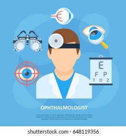 Ophthalmologist icon, eye and visual system doctor, medical tools for specialist, anatomy clinic poster. Vector flat style cartoon illustration isolated on blue background