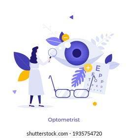 Ophthalmologist, optometrist or physician performing eye examination or checking visual acuity. Concept of ophthalmology, optometry, vision disorder diagnostics. Modern flat vector illustration.