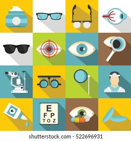 Ophthalmologist tools icons set. Flat illustration of 16 ophthalmologist tools vector icons for web. Eye signs vision set