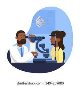 Ophthalmologist's Equipment. Reception at Ophthalmologist. Check Eyesight. Health Care. Doctor Ophthalmologist. Woman at Doctor. Vector Illustration. Man Doctor. Ophthalmologist Tests Vision of Woman.