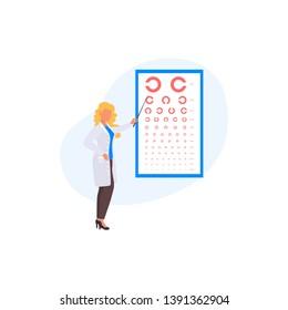 Ophthalmology concept. Golovin table. Oculist pointing at eye test chart. Eyesight examination and correction. Vector illustration