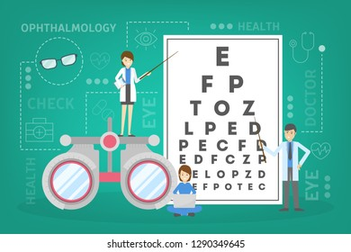 Ophthalmology concept. Idea of eye care and vision. Oculist pointing at eye test chart. Eyesight examination and correction. Vector illustration in cartoon style