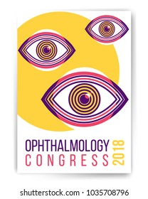Ophthalmology congress abstract poster design with illustration. Human eye vector icon design, geometric style design. Medical illustration for cover, advertisement, poster design.