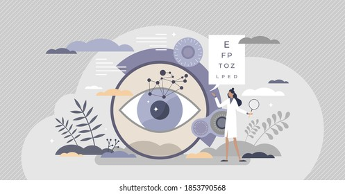 Ophthalmology as eye and vision healthcare occupation tiny person concept. Medical sight checkup, diagnosis and look treatment vector illustration. Optical lens examination and retina correction scene